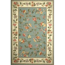 Colonial Slate Blue / Ivory Floral Area Rug
