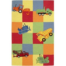 Kidding Around Trucks Galore Green/Yellow Area Rug