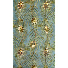 Catalina Blue Peacock Feathers Novelty Area Rug
