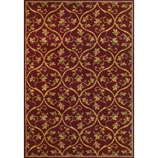 Corinthian Red Vine Brocade Area Rug