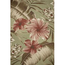 Horizon Sage Green Floral Hibiscus Indoor/Outdoor Area Rug