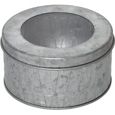 Retro Galvanized Metal Round Cotton Box and Organizer with Cover