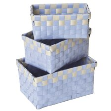 3 Piece Checkered Woven Basket Set