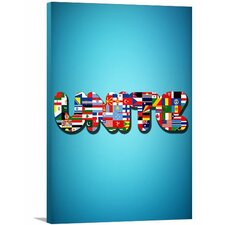 """Modern Quote """"International Unite"""" Wall Art on Wrapped Canvas"""
