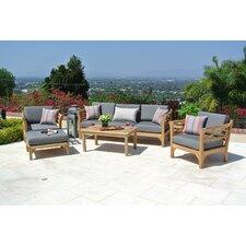 Malibu Outdoor Teak 5 Piece Deep Seating Group Set