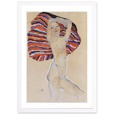 'Egon Schiele - Girl Against Colored Cloth' Framed Painting Print in Beige