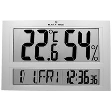 Jumbo Indoor Digital Thermometer Hygrometer Humidity Monitor with Clock and Calendar