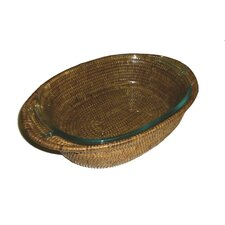 Rattan Oval Baker Basket with Pyrex Included