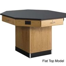 Octagon Workstation with Pedestal Base and Flat top
