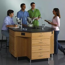 Octagon Workstation with Drawer Base and Gas/Water Fixtures