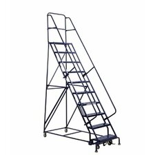 10 ft Steel Rolling Ladder with 375 lb. Load Capacity