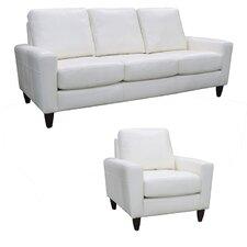 Atlanta Top Grain Leather Sofa and Chair Set (Set of 2)