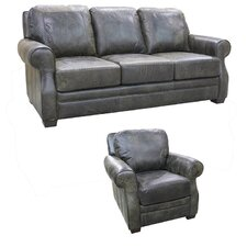 Boise Top Grain Leather Sofa and Chair Set (Set of 2)