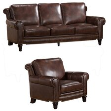 Macy Top Grain Leather Sofa and Chair Set