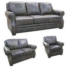 Boise Top Grain Leather Sofa, Loveseat and Chair Set
