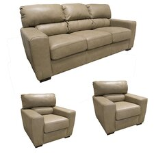 Hartford Top Grain Leather Sofa and 2 Chairs Set (Set of 3)