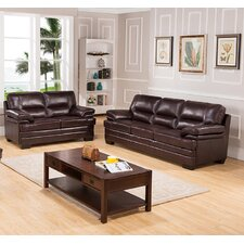 San Paolo Top Grain Leather Sofa and Loveseat Set