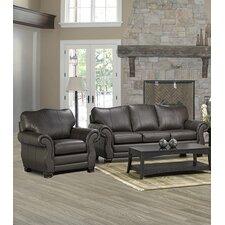 Huntington Italian Leather Sofa and Chair Set (Set of 2)