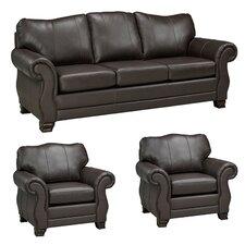 Huntington Italian Leather Sofa and 2 Chair Set (Set of 3)