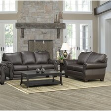 Huntington Italian Leather Sofa and Loveseat Set (Set of 2)