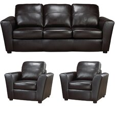 Delta Italian Leather Sofa and 2 Chair Set (Set of 3)