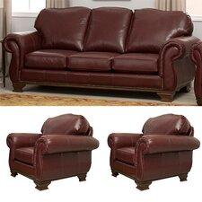 Fairfield 3 Piece Leather Sofa and Chair Set