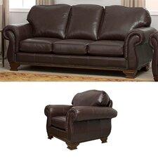Fairfield 2 Piece Italian Leather Sofa and Chair Set (Set of 2)