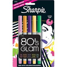 80's Glam Assorted Colors Ultra Fine Point Permanent Markers, 5 pack