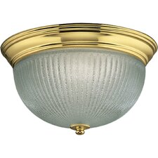 Polished Brass Clear Ribbed Glass Flush Mount