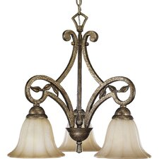 Le Jardin 3 Light Biscay Crackle Chandelier