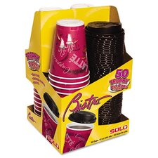 Company Trophy Foam Cups & Lids Combo Pack,Maroon, 50 Cups & Lids/Pack