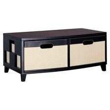 Jute Two Drawer Chest in Dark Brown and Linen