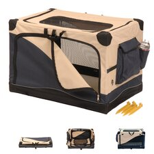 Soft Sided Pet Crate in Navy & Tan