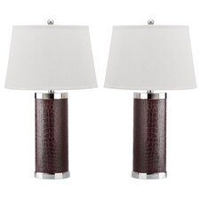 """Leather Column 26"""" H Table Lamp with Empire Shade (Set of 2)"""