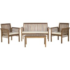 Carson 4 Piece Seating Group with Beige Cushions