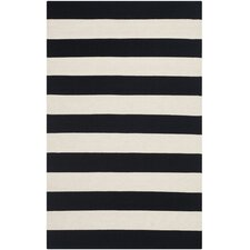 Montauk Black & White Striped Contemporary Area Rug