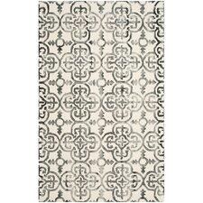 Dip Dye Ivory & Charcoal Geometric Area Rug