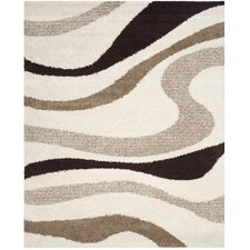 Art Shag Ivory / Brown Area Rug
