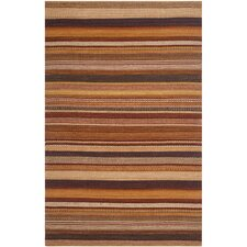 Kilim Rust Striped Contemporary Rug