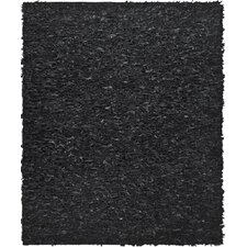 Leather Shag Black Area Rug I