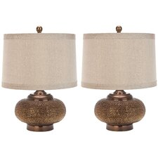 """Persian Legend Beaded 19"""" H Table Lamp with Drum Shade (Set of 2)"""