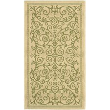 Courtyard White Ivory / Green Outdoor Area Rug
