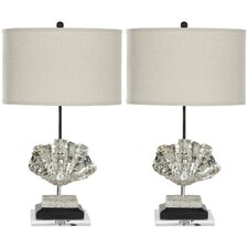 """Shell 27.5"""" H Table Lamp with Drum Shade (Set of 2)"""