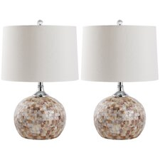"Nikki Shell 21.5"" H Table Lamp with Drum Shade (Set of 2)"