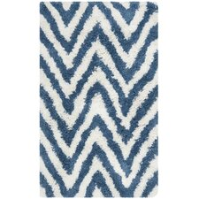 Shag Ivory & Blue Outdoor Area Rug