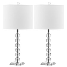 """Victoria Ball 24"""" H Table Lamp with Drum Shade (Set of 2)"""