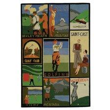 Vintage Posters Golf Collage Novelty Rug