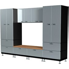 16 Piece Lockers and Bench Storage Cabinet Set