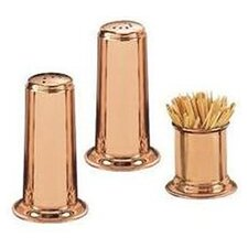 3 Piece Solid Copper Salt & Pepper Set with Toothpick Holder