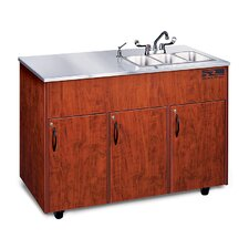 "Silver Advantage 48"" x 24"" Triple Bowl Portable Handwash Station with Storage Cabinet"